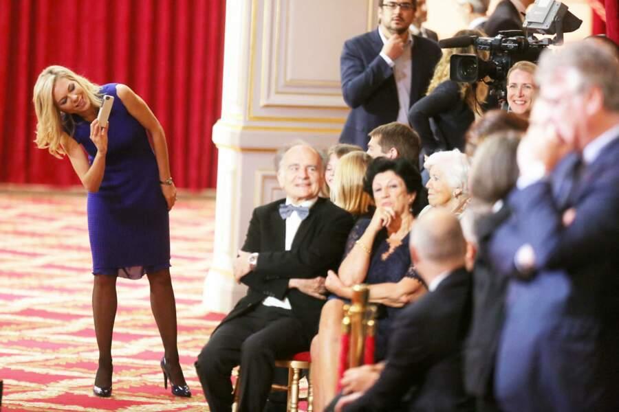 Laurence Auzière-Jourdan, avec Jean-Michel Macron et Françoise Noguès-Macron (assis au premier rang) le 14 mai 2017 à l'Elysée.