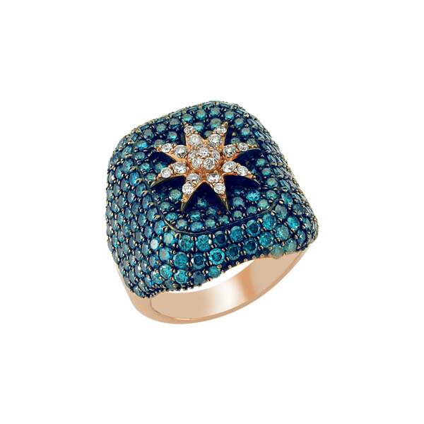 Chevalière en diamants, Bee Goddess, 1115 €,  chez Mad Lords.