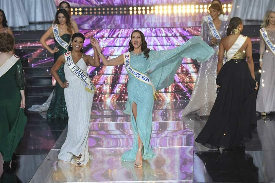 Véronique de la Cruz et Mareva Georges lors de l'ouverture de Miss France 2021
