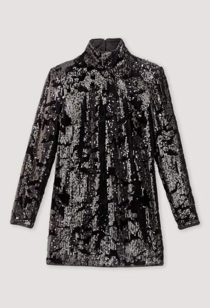 Robe courte noire recouverte de sequins, 285€, Claudie Pierlot