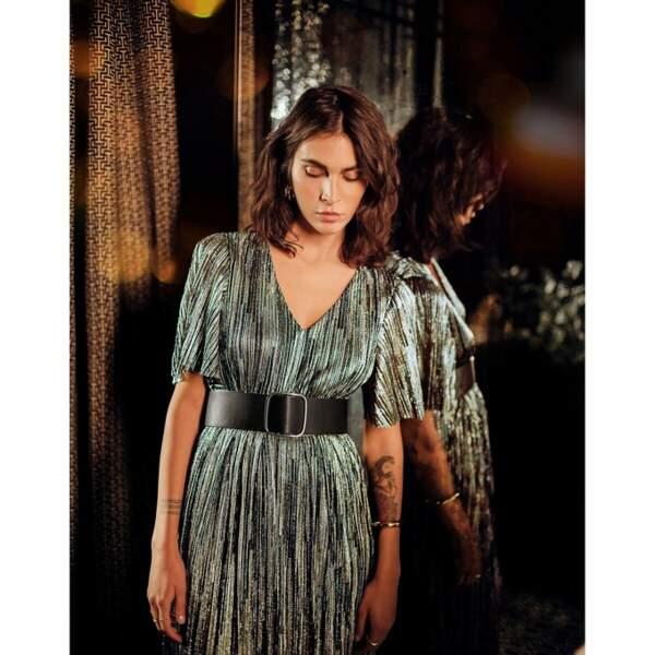 Robe de soirée longue, à rayures brillantes, 69,99€, La Redoute Collections