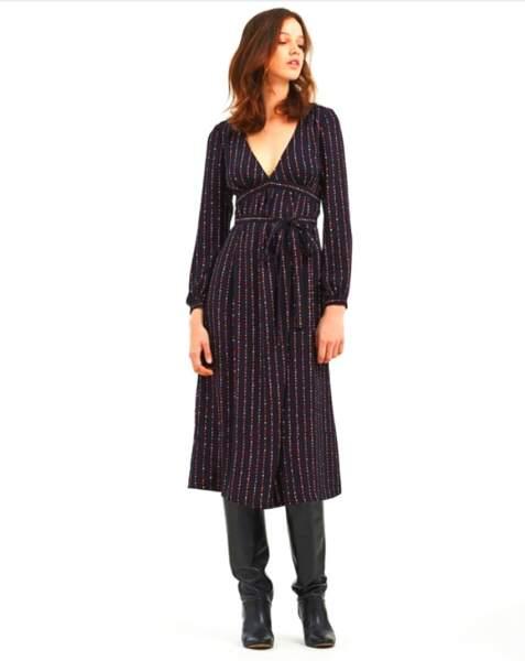 Robe longue imprimée encolure V 79€, Vanessa Seward X La Redoute Collections
