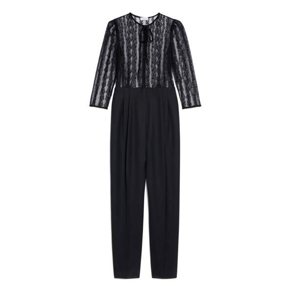 Combinaison pantalon bi-matière, 295€, Sandro Paris