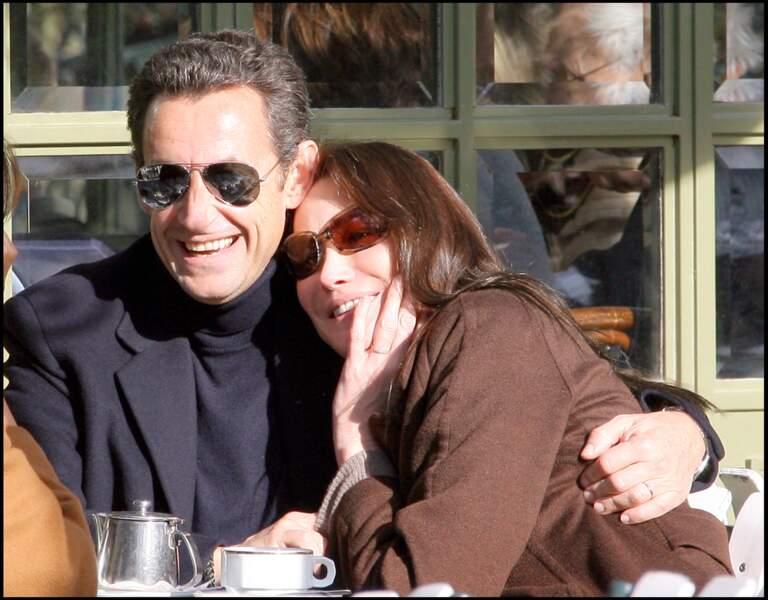 Nicolas Sarkozy et Carla Bruni juste après leur mariage en 2008.