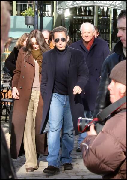 Carla Bruni avec son mari Nicolas Sarkozy et son père biologique, Maurizio Remmert.