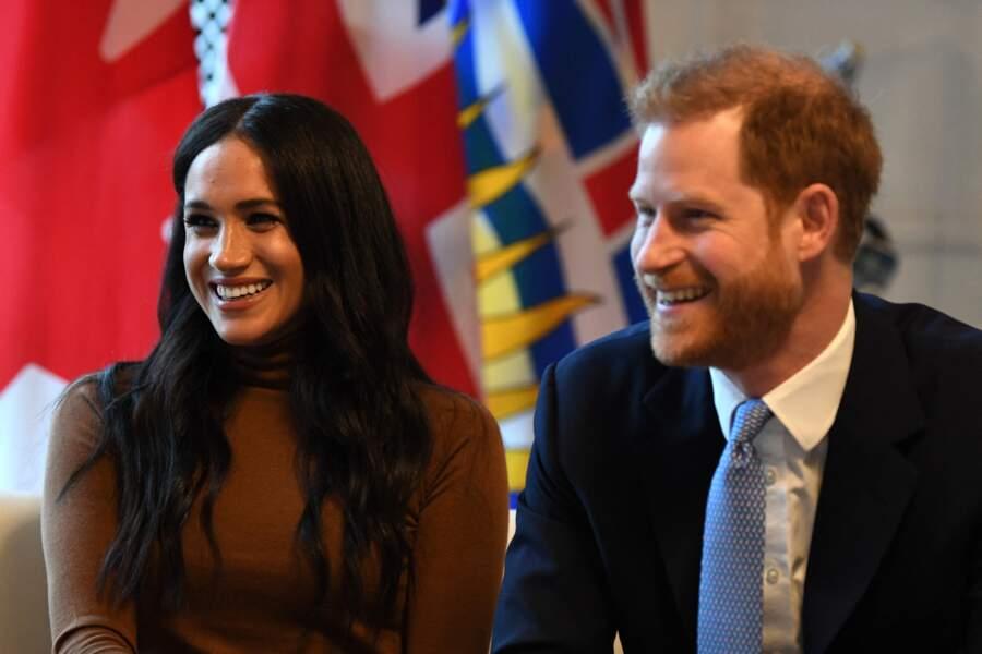 Le prince Harry et Meghan Markle,  en visite à la Canada House à Londres, le 7 janvier 2020, à la veille d'officialiser leur départ de la Firme