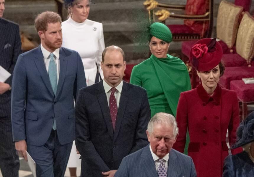 La famille royale d'Angleterre lors de la cérémonie du Commonwealth en l'abbaye de Westminster à Londres le 9 mars 2020