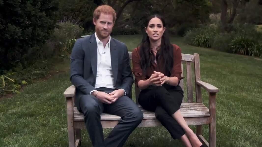 Le prince Harry et Meghan Markle en pleine interview pour TIME 100 television ABC, le 23 septembre 2020