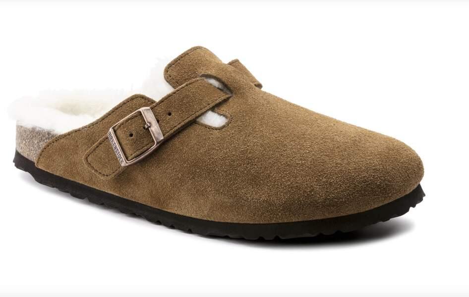 La mule Boston en shearling, Birkenstock, 150 €