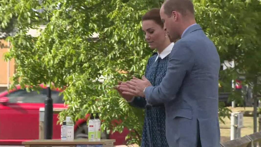 Le prince William et Kate Middleton lors d'une visite à l'hôpital Queen Elizabeth Hospital à King's Lynn, le 5 juillet 2020.