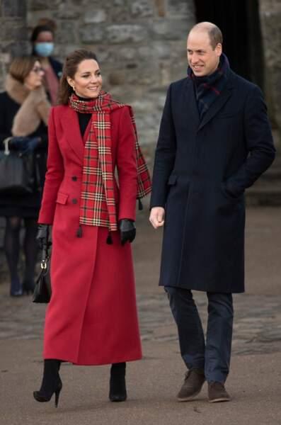 Le prince William et Kate Middleton rencontrent des étudiants au chateau de Cardiff pour évoquer leur ressenti sur le confinement, le 8 décembre 2020.