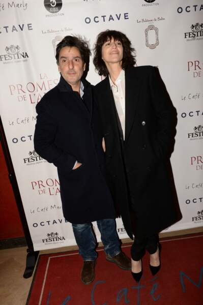 """Yvan Attal et Charlotte Gainsbourg, à l'after-party du film """"La Promesse de l'Aube"""", le 12 décembre 2017."""