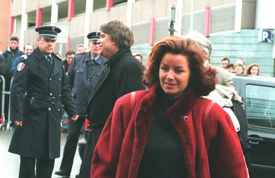 Dominique Dominique Mialet-Damianos, et son époux Bernard Tapie, en 1995, lors du procès de l'OM-VA.
