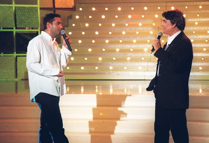 Bernard Tapie et son fils Stéphane, dans l'émission Vivement Dimanche, en 1999.
