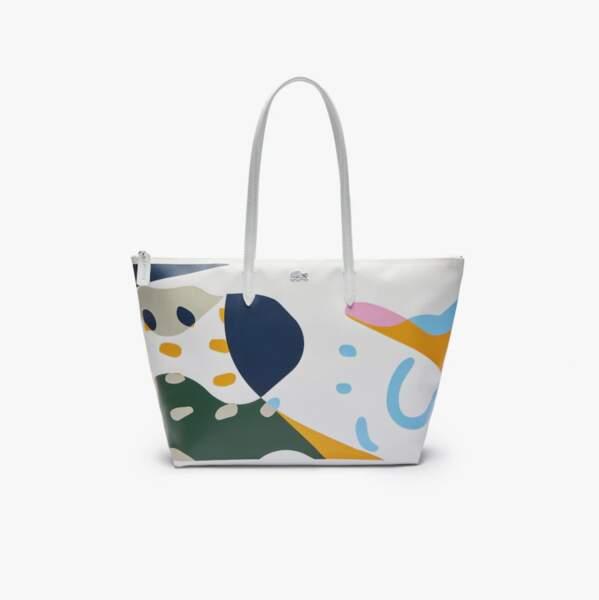 Grand sac cabas en toile aux motifs abstraits multicolores, 105€, Lacoste