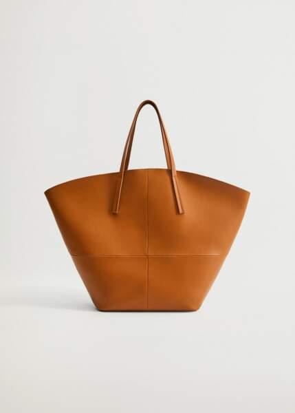 Sac shopper couture grande taille en simili cuir camel, 49,99€, Mango