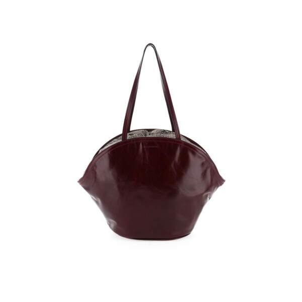 Grand sac muffin en cuir brillant rouge foncé, 390€, Borbonese