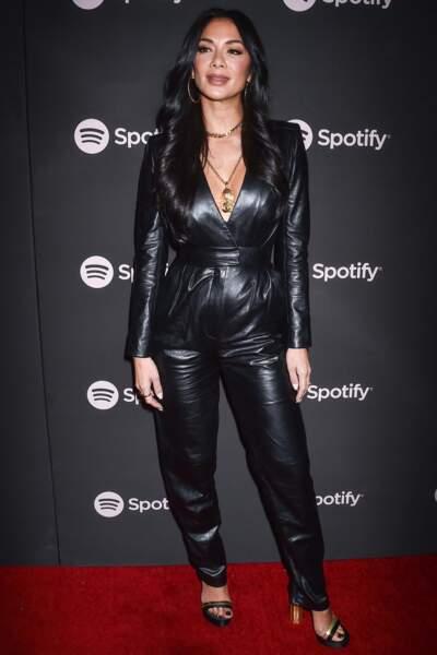 La chanteuse Nicole Scherzinger en combinaison en cuir Jean-Claude Jitrois à Los Angeles le 8 février 2019.