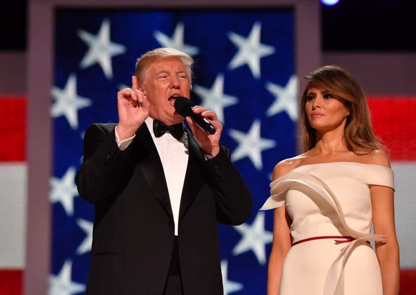 Donald et Melania Trump, au bal d'investiture, le 20 janvier 2017.
