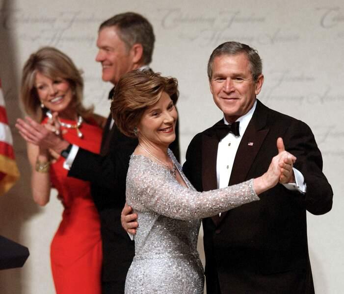 Laura et George W. Bush, lors du bal d'investiture, le 20 janvier 2005, à Washington.