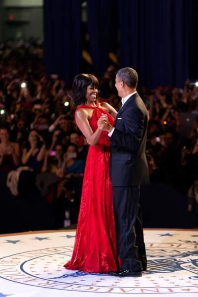 Michelle et Barack Obama, lors du bal d'investiture, le 21 janvier 2013