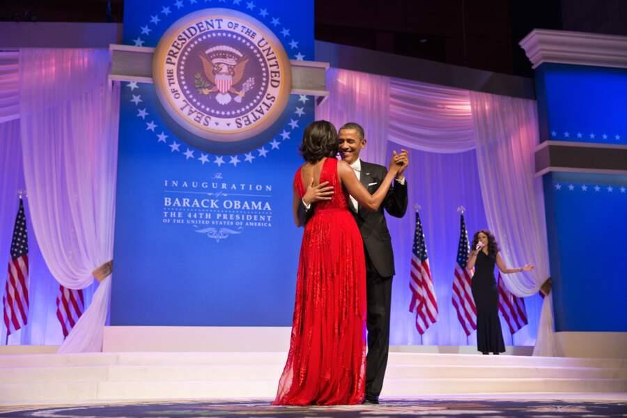 Michelle et Barack Obama, lors du bal d'investiture, le 21 janvier 2013.