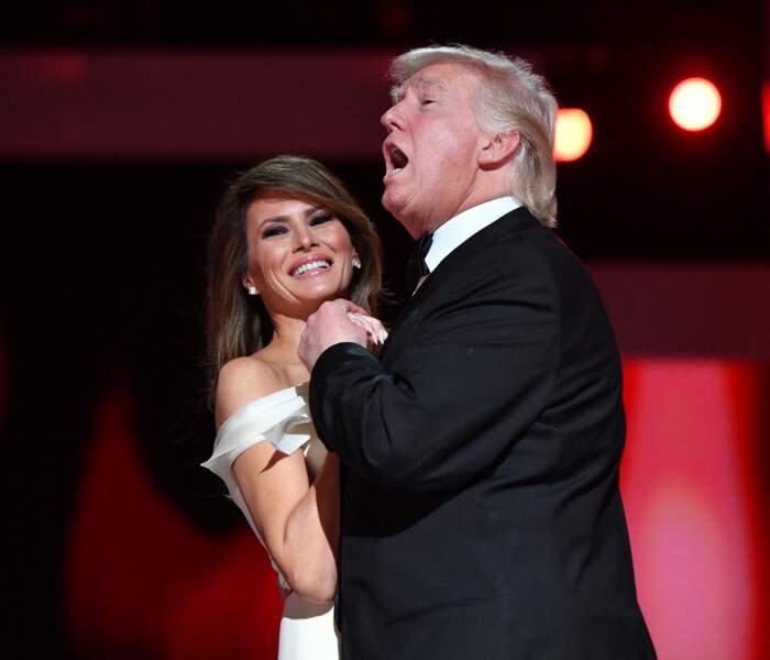 Melania et Donald Trump, lors du bal d'investiture, à Washington, le 20 janvier 2017.
