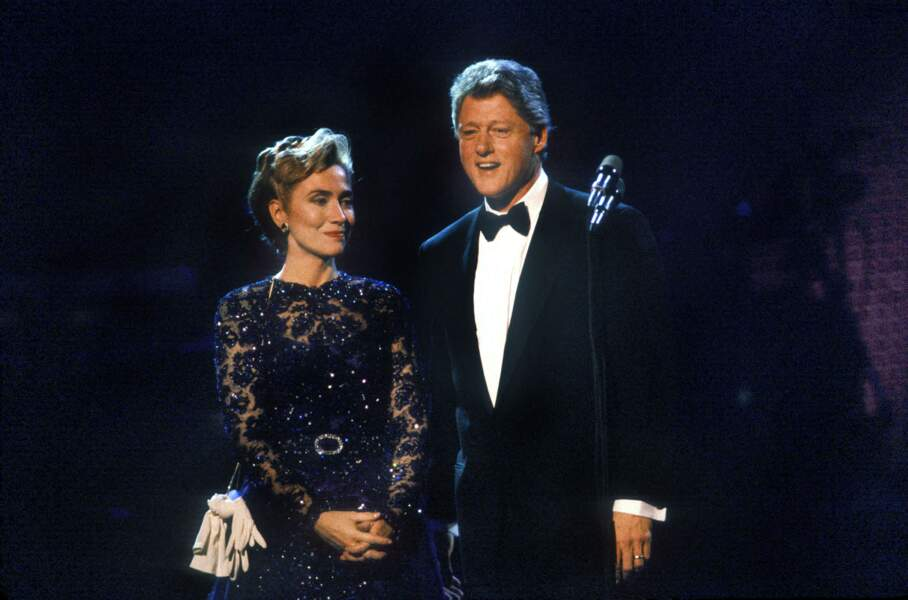 Hillary et Bill Clinton, lors de leur premier bal d'investiture, le 20 janvier 1993.