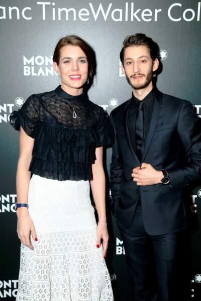 Charlotte Casiraghi et Pierre Niney, lors de la soirée Montblanc à Genève le 16 janvier 2017