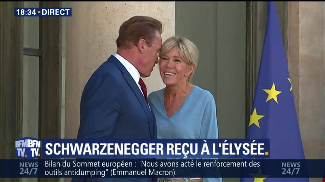 Brigitte Macron et Arnold Schwarzenegger tout sourires à l'Elysée