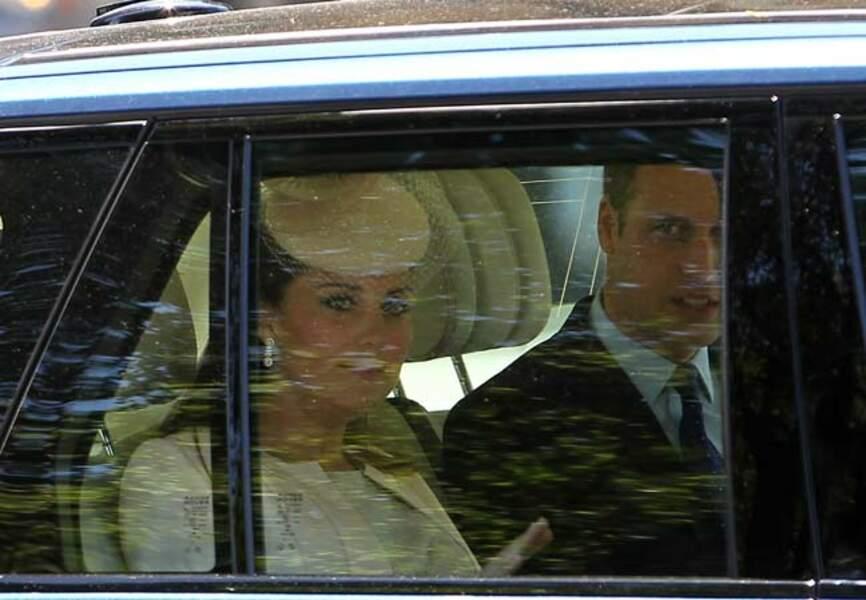 L'arrivée du duc et de la duchesse de Cambridge