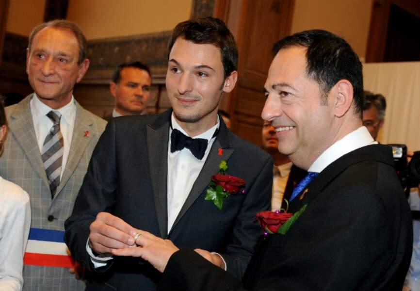 Bertrand Delanoë et les mariés, Christophe Michel et Jean-Luc Romero