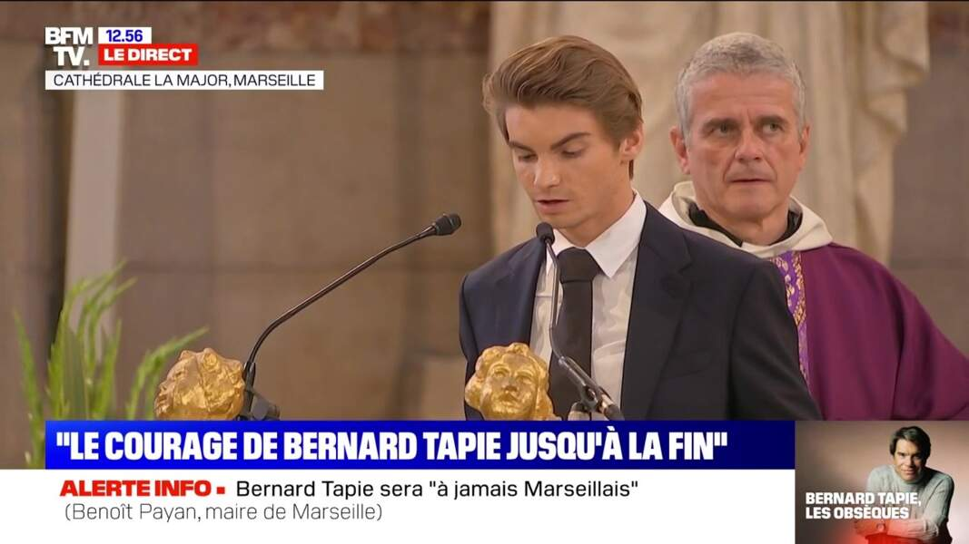 Un autre des petits-fils de Bernard Tapie a également pris la parole pour rendre hommage à son grand-père lors de ses obsèques en la cathédrale de la Major, à Marseille, le 8 octobre 2021.