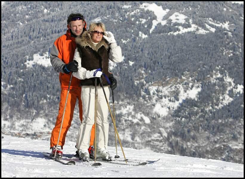 Sophie Davant et Pierre Sled, à Courchevel, en décembre 2008.