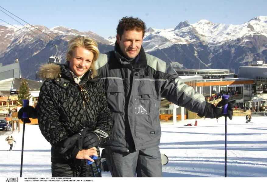 Sophie Davant et Pierre Sled, en 2001, à Courchevel.