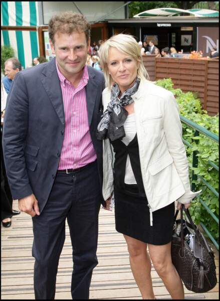 Pierre Sled et Sophie Davant, lors du tournoi de Roland Garros, le 29 mai 2008.