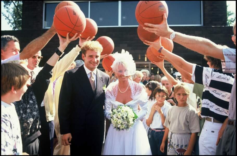 Sophie Davant et Pierre Sled, lors de leur mariage, en 1991.