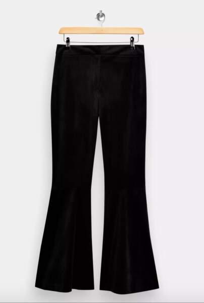 Pantalon Large Noir En Velours, Idol, 55€, Topshop