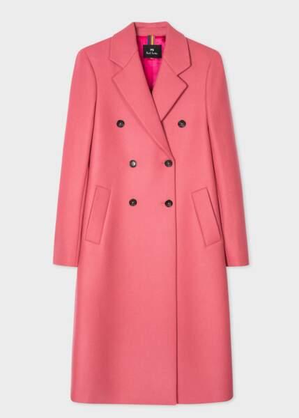 Manteau droit en laine et cachemire au double boutonnage, 675€, Paul Smith