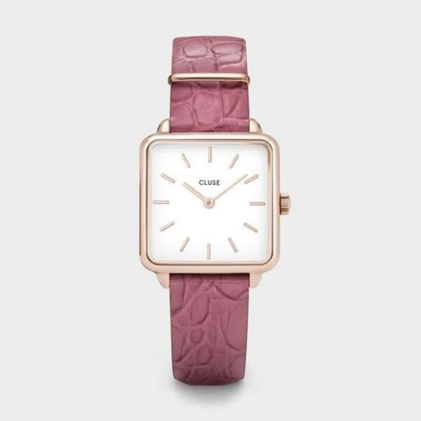 Montre rectangulaire avec son bracelet en cuir façon croco, 99,95€, Cluse