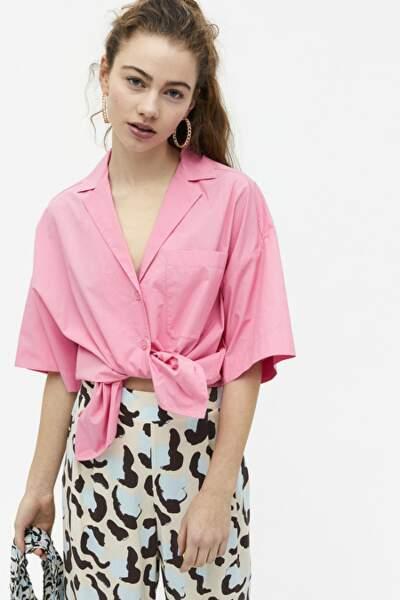 Chemise à col cranté nouée à la taille, 25€, Monki