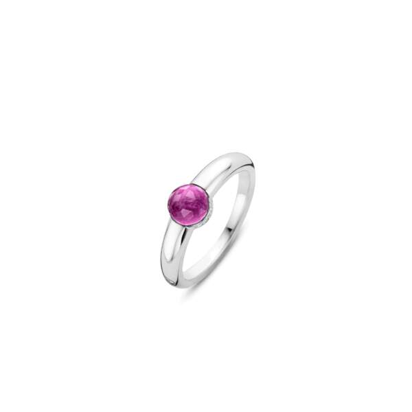 Bague Milano en argent fin rhodié surmonté de son cristal rose, 69€, Ti Sento