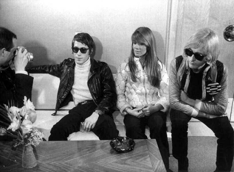 Francoise Hardy, Jacques Dutronc et Michel Polnareff à Berlin en janvier 1967