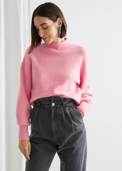 Pull en maille coupe droite avec col montant, 39€, & Other Stories