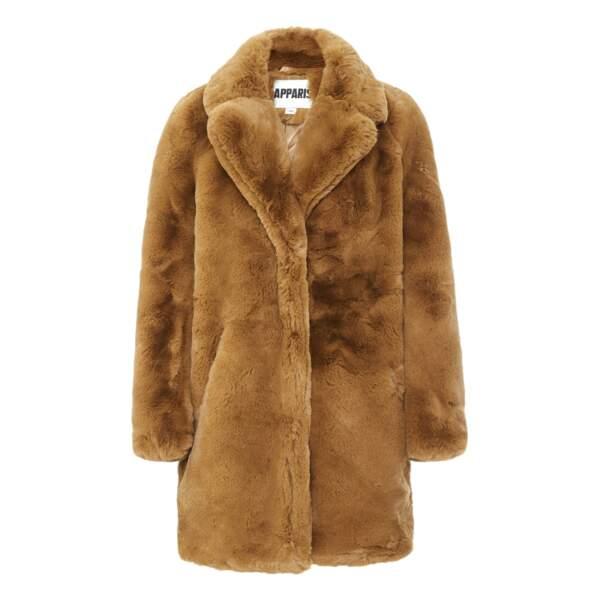 Manteau Façon Fourrure Sasha Camel, 375€, Apparis