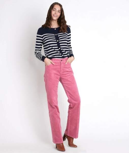 Pantalon large à patte d'éph' en velours, 89€, Maison 123