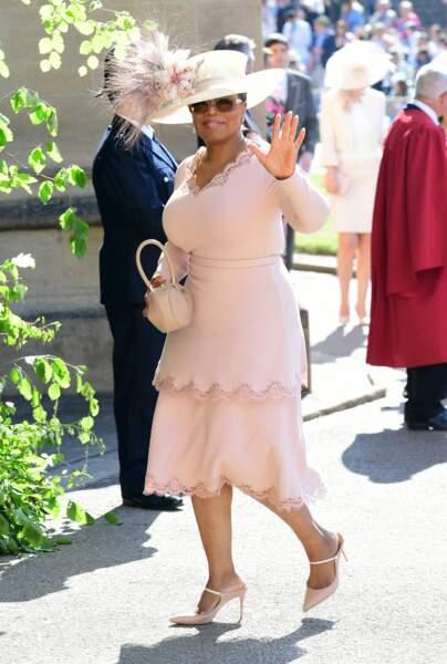 Oprah Winfrey fait partie du cercle rapproché de Meghan Markle et du prince Harry. Invitée à leur mariage, comme ici en mai 2018, elle se trouve être leur voisine en Californie.