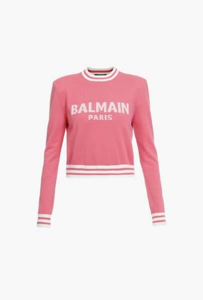Pull court en laine et cachemire rose avec logo, 890€, Balmain
