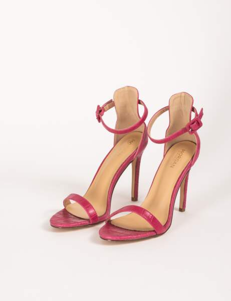 Sandales à talons aiguilles aspect croco, 59€, Morgan