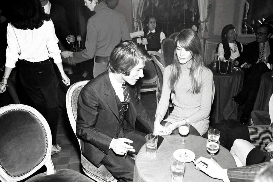 Jacques Dutronc et Francoise Hardy lors d'une soirée chez Maxim's en 1968